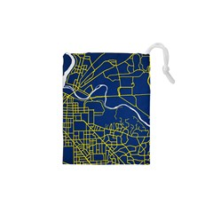 Map Art City Linbe Yellow Blue Drawstring Pouches (xs)
