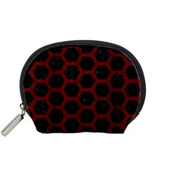 Hexagon2 Black Marble & Red Wood (r) Accessory Pouches (small)