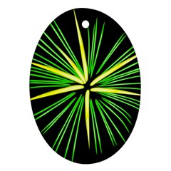 Fireworks Green Happy New Year Yellow Black Sky Ornament (oval)