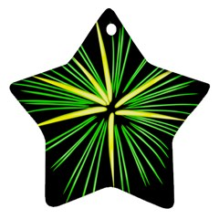 Fireworks Green Happy New Year Yellow Black Sky Ornament (star)