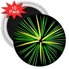 Fireworks Green Happy New Year Yellow Black Sky 3  Magnets (10 Pack)