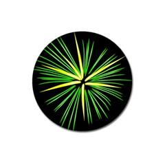 Fireworks Green Happy New Year Yellow Black Sky Magnet 3  (round)