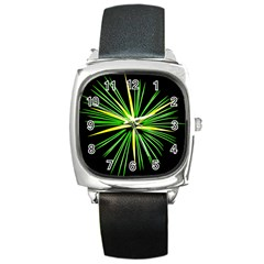 Fireworks Green Happy New Year Yellow Black Sky Square Metal Watch