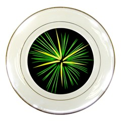Fireworks Green Happy New Year Yellow Black Sky Porcelain Plates