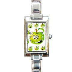 Apple Green Fruit Emoji Face Smile Fres Red Cute Rectangle Italian Charm Watch