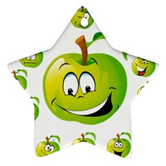 Apple Green Fruit Emoji Face Smile Fres Red Cute Ornament (star)
