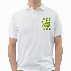Apple Green Fruit Emoji Face Smile Fres Red Cute Golf Shirts