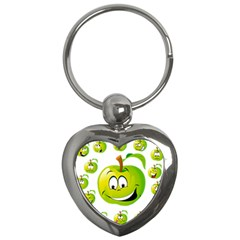 Apple Green Fruit Emoji Face Smile Fres Red Cute Key Chains (heart)