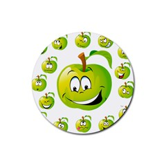 Apple Green Fruit Emoji Face Smile Fres Red Cute Rubber Round Coaster (4 Pack)