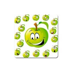 Apple Green Fruit Emoji Face Smile Fres Red Cute Square Magnet