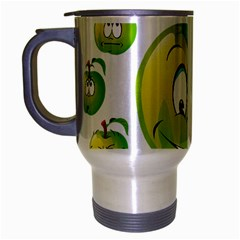 Apple Green Fruit Emoji Face Smile Fres Red Cute Travel Mug (silver Gray)