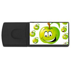 Apple Green Fruit Emoji Face Smile Fres Red Cute Rectangular Usb Flash Drive