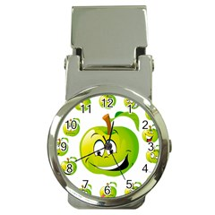 Apple Green Fruit Emoji Face Smile Fres Red Cute Money Clip Watches