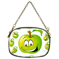 Apple Green Fruit Emoji Face Smile Fres Red Cute Chain Purses (one Side)