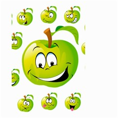 Apple Green Fruit Emoji Face Smile Fres Red Cute Small Garden Flag (two Sides)