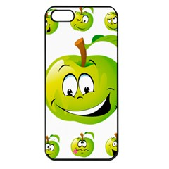 Apple Green Fruit Emoji Face Smile Fres Red Cute Apple Iphone 5 Seamless Case (black)