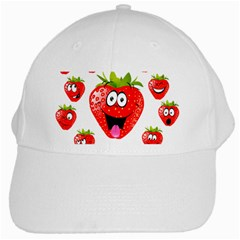 Strawberry Fruit Emoji Face Smile Fres Red Cute White Cap