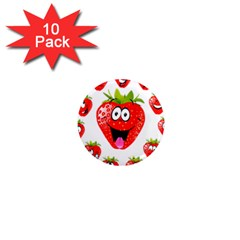 Strawberry Fruit Emoji Face Smile Fres Red Cute 1  Mini Magnet (10 Pack)