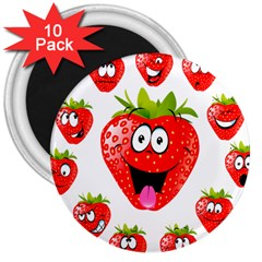 Strawberry Fruit Emoji Face Smile Fres Red Cute 3  Magnets (10 Pack)