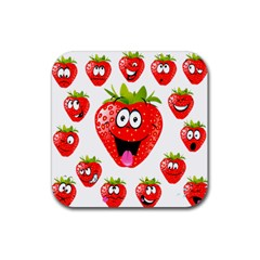 Strawberry Fruit Emoji Face Smile Fres Red Cute Rubber Square Coaster (4 Pack)