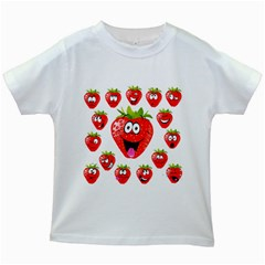Strawberry Fruit Emoji Face Smile Fres Red Cute Kids White T Shirts