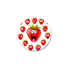 Strawberry Fruit Emoji Face Smile Fres Red Cute Golf Ball Marker (4 Pack)