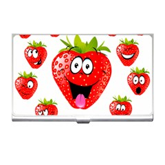 Strawberry Fruit Emoji Face Smile Fres Red Cute Business Card Holders