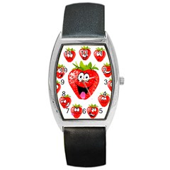 Strawberry Fruit Emoji Face Smile Fres Red Cute Barrel Style Metal Watch