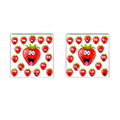 Strawberry Fruit Emoji Face Smile Fres Red Cute Cufflinks (square)