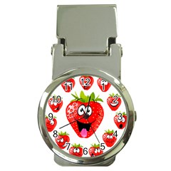 Strawberry Fruit Emoji Face Smile Fres Red Cute Money Clip Watches