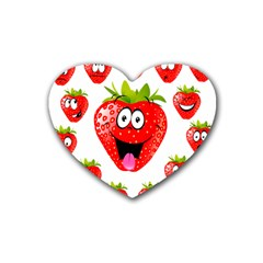 Strawberry Fruit Emoji Face Smile Fres Red Cute Rubber Coaster (heart)