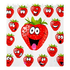 Strawberry Fruit Emoji Face Smile Fres Red Cute Shower Curtain 66  X 72  (large)
