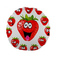 Strawberry Fruit Emoji Face Smile Fres Red Cute Standard 15  Premium Round Cushions