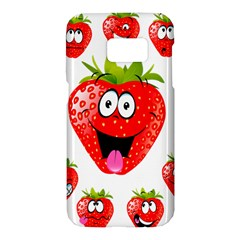 Strawberry Fruit Emoji Face Smile Fres Red Cute Samsung Galaxy S7 Hardshell Case