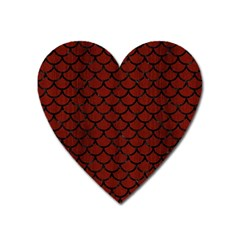 Scales1 Black Marble & Red Wood Heart Magnet