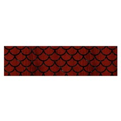 Scales1 Black Marble & Red Wood Satin Scarf (oblong)
