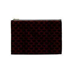 Scales3 Black Marble & Red Wood (r) Cosmetic Bag (medium)