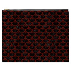 Scales3 Black Marble & Red Wood (r) Cosmetic Bag (xxxl)
