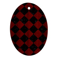 Square2 Black Marble & Red Wood Ornament (oval)