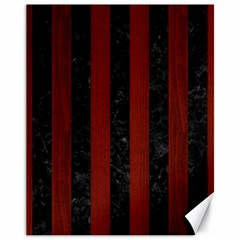 Stripes1 Black Marble & Red Wood Canvas 11  X 14