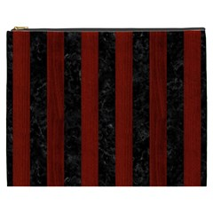 Stripes1 Black Marble & Red Wood Cosmetic Bag (xxxl)