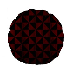 Triangle1 Black Marble & Red Wood Standard 15  Premium Flano Round Cushions