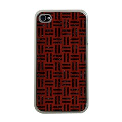 Woven1 Black Marble & Red Wood Apple Iphone 4 Case (clear)