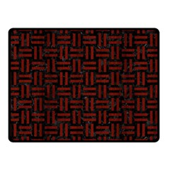 Woven1 Black Marble & Red Wood (r) Double Sided Fleece Blanket (small)