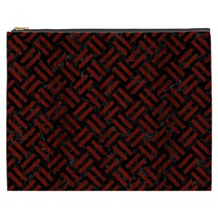 Woven2 Black Marble & Red Wood (r) Cosmetic Bag (xxxl)