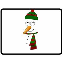 Cute Snowman Double Sided Fleece Blanket (large)