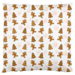 Ginger Cookies Christmas Pattern Large Flano Cushion Case (one Side)