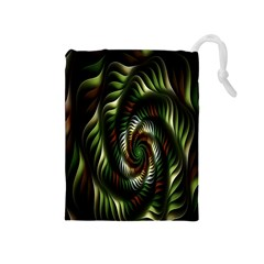 Fractal Christmas Colors Christmas Drawstring Pouches (medium)