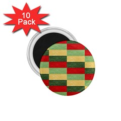 Fabric Coarse Texture Rough Red 1 75  Magnets (10 Pack)
