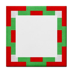 Fabric Christmas Red White Green Tile Coasters